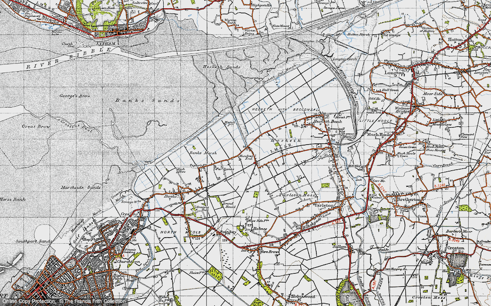 Old Map of Historic Map covering Banks Marsh in 1947