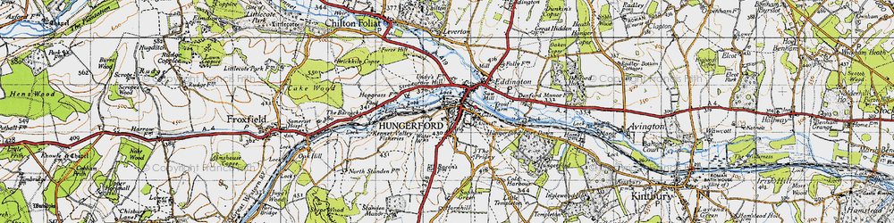 Old map of Hungerford in 1945