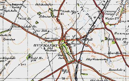 Old map of Hunmanby in 1947