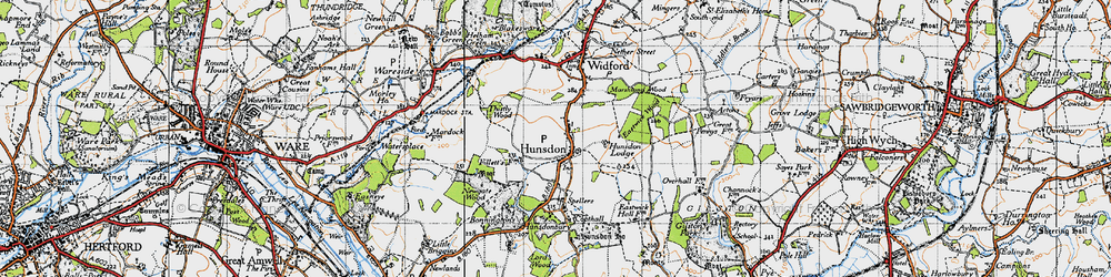 Old map of Hunsdon in 1946