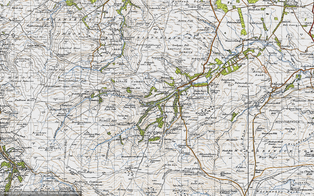 Old Map of Hunstanworth, 1947 in 1947