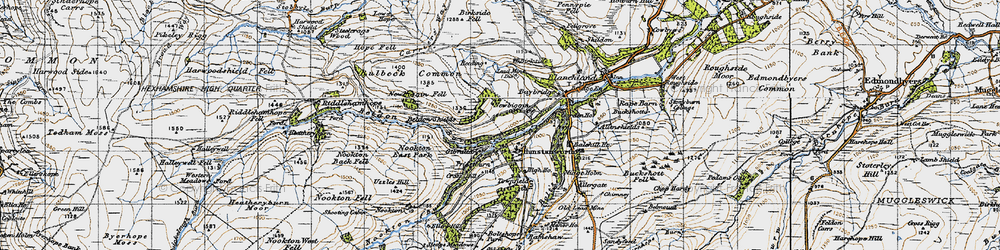 Old map of Hunstanworth in 1947