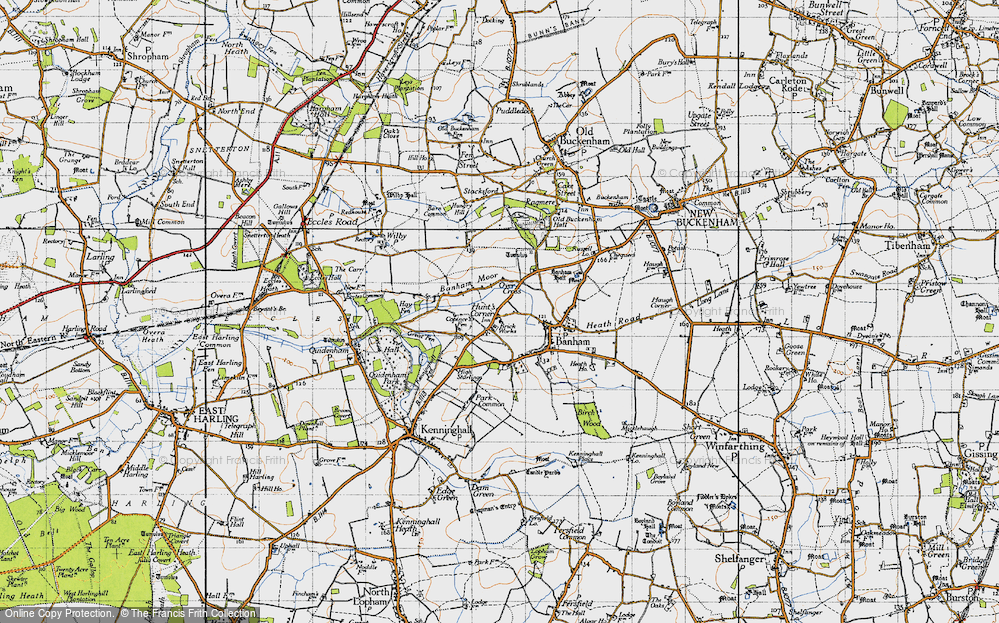 Old Map of Historic Map covering Banham Moor in 1946