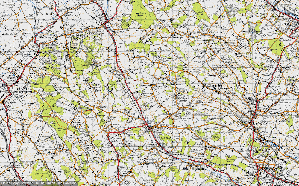 Old Map of Historic Map covering Woodlands Park in 1946