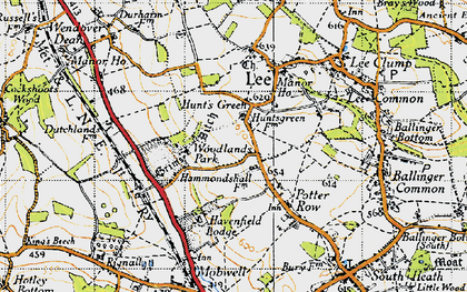 Old map of Woodlands Park in 1946