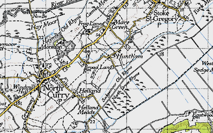 Old map of Sedgemoor Old Rhyne in 1945