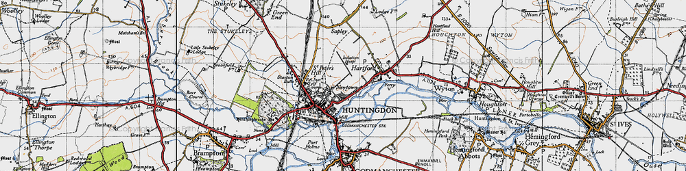 Old map of Huntingdon in 1946