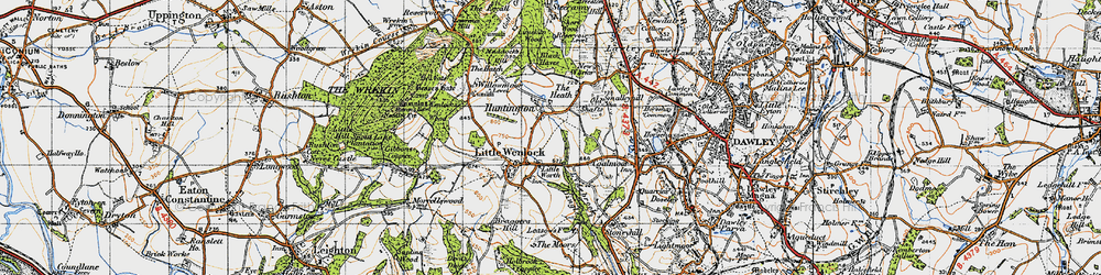 Old map of Willowmoor in 1947