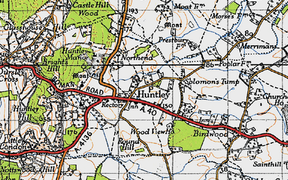 Old map of Huntley in 1947
