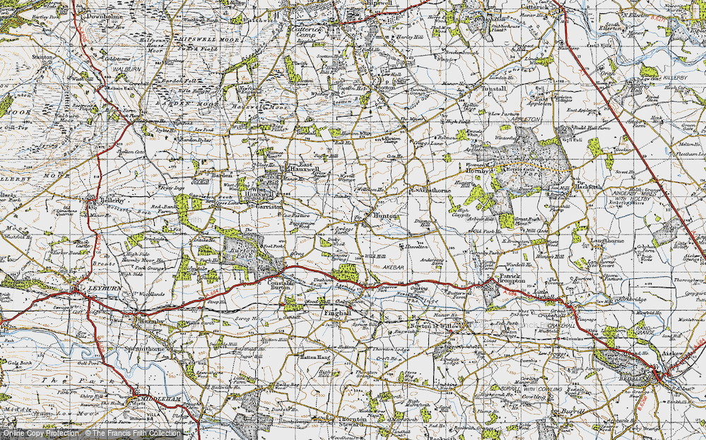 Old Map of Historic Map covering Wyvill Grange in 1947
