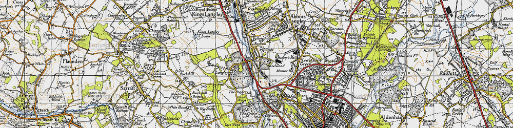 Old map of Hunton Bridge in 1946