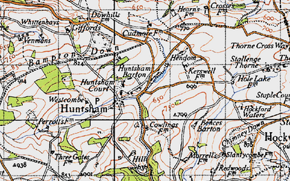 Old map of Bampton Down in 1946