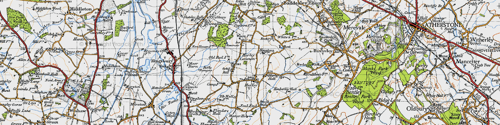 Old map of Hurley in 1946
