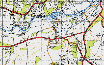 Old map of Hurley in 1947