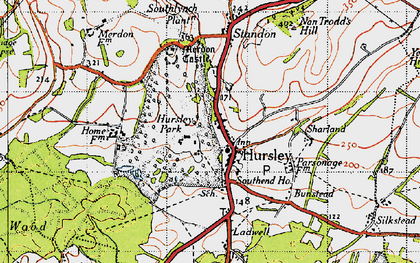 Old map of Hursley in 1945