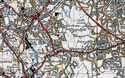 Old map of Hurst Green in 1947