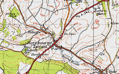 Old map of Hurstbourne Tarrant in 1945