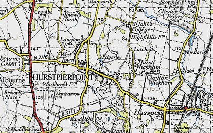 Old map of Hurstpierpoint in 1940