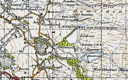 Old map of Worsthorne Moor in 1947
