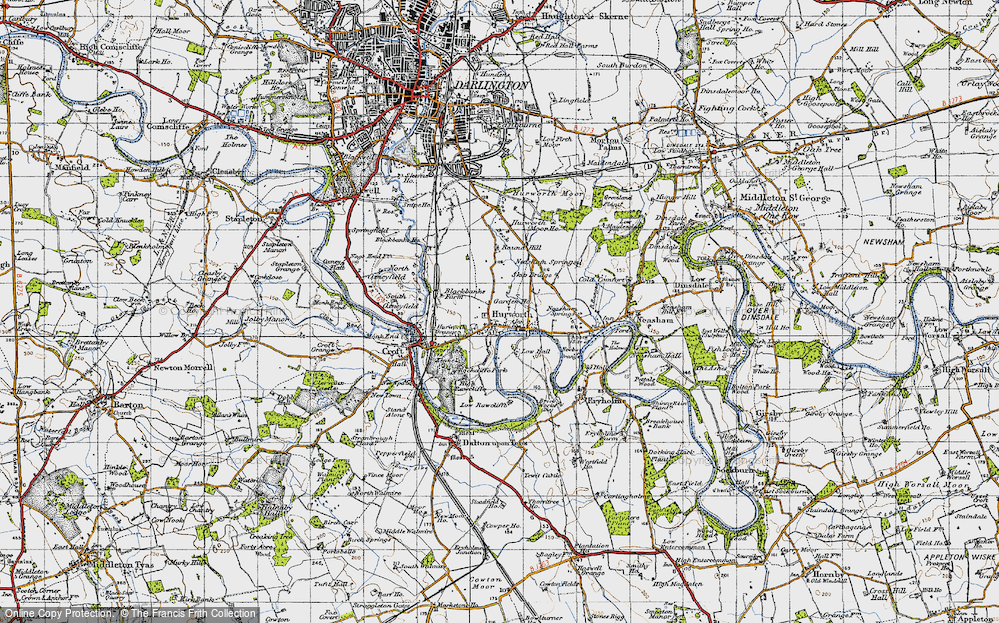 Old Map of Historic Map covering Ashfield in 1947