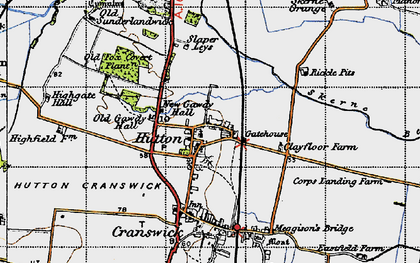 Old map of Hutton in 1947
