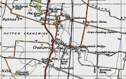 Old map of Hutton Cranswick in 1947