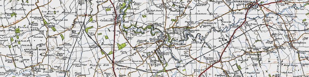 Old map of Hutton Rudby in 1947