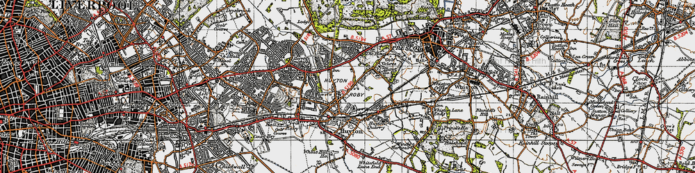 Old map of Huyton in 1947