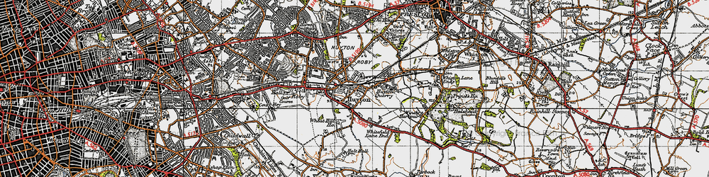 Old map of Huyton Park in 1947