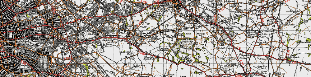 Old map of Huyton Quarry in 1947