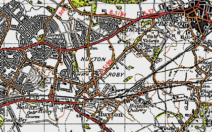 Old map of Huyton-With-Roby in 1947