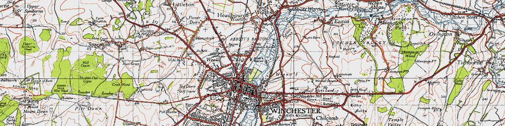 Old map of Abbott's Barton in 1945