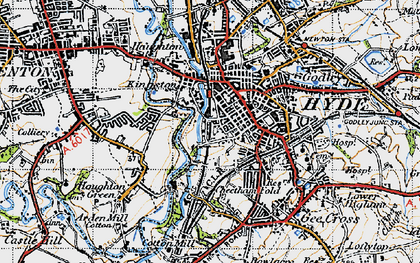 Old map of Hyde in 1947