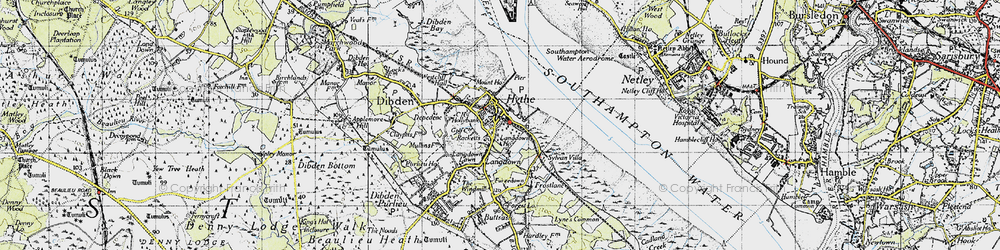 Old map of Hythe in 1945