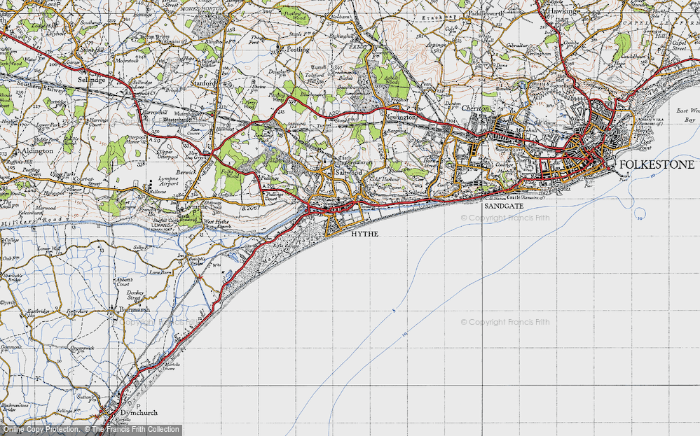Old Map of Hythe, 1947 in 1947