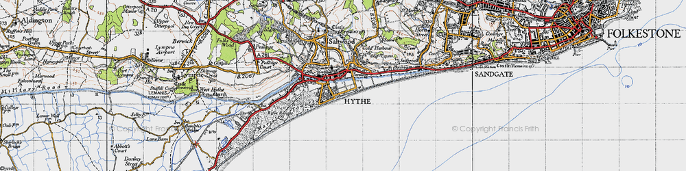 Old map of Hythe in 1947