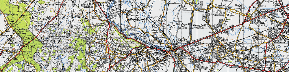 Old map of Wraysbury River in 1940