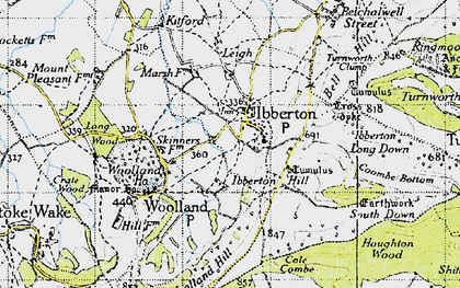 Old map of Ibberton in 1945