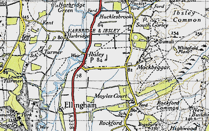Old map of Ibsley in 1940