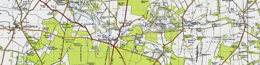 Old map of Ickburgh in 1946