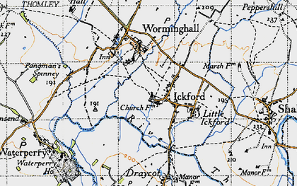 Old map of Ickford in 1946