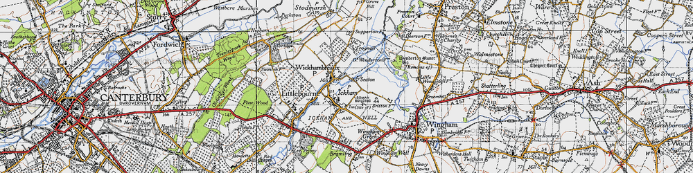 Old map of Ickham in 1947