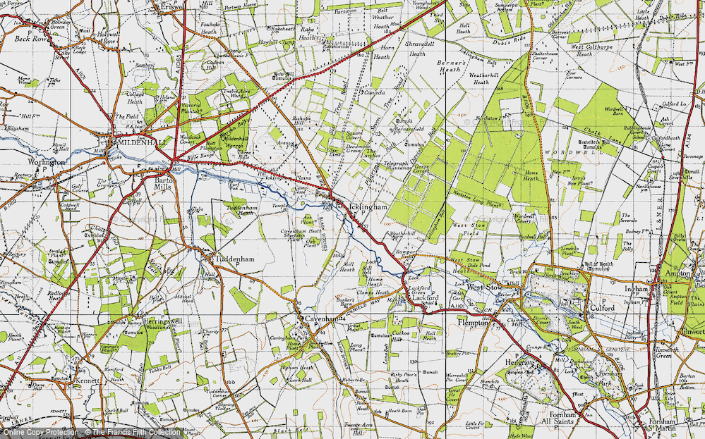 Old Map of Historic Map covering Ash Plantn in 1946