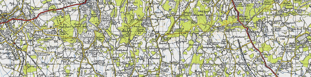 Old map of Ide Hill in 1946