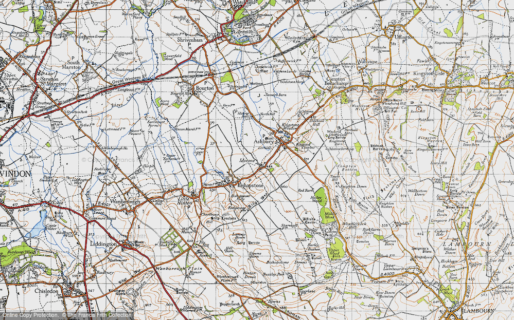 Old Map of Historic Map covering Alfred's Castle in 1947