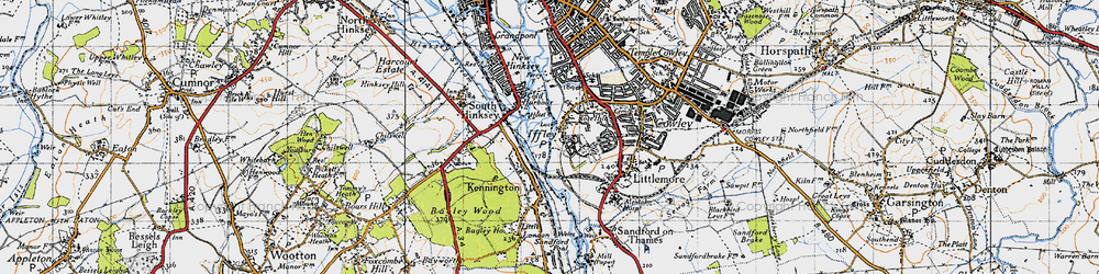 Old map of Iffley in 1947