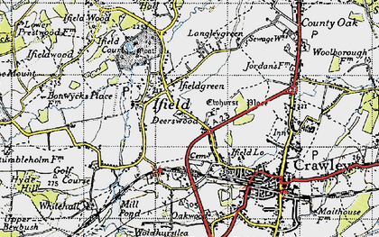 Old map of Ifield in 1940