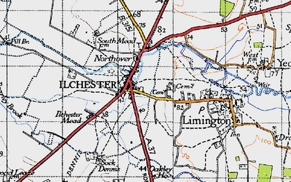 Old map of Ilchester in 1945