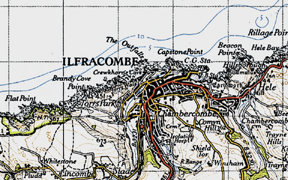 Old map of Ilfracombe in 1946