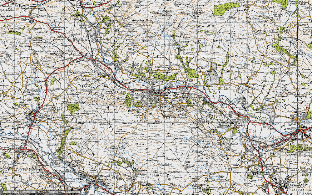 Old Map of Historic Map covering White Wells in 1947